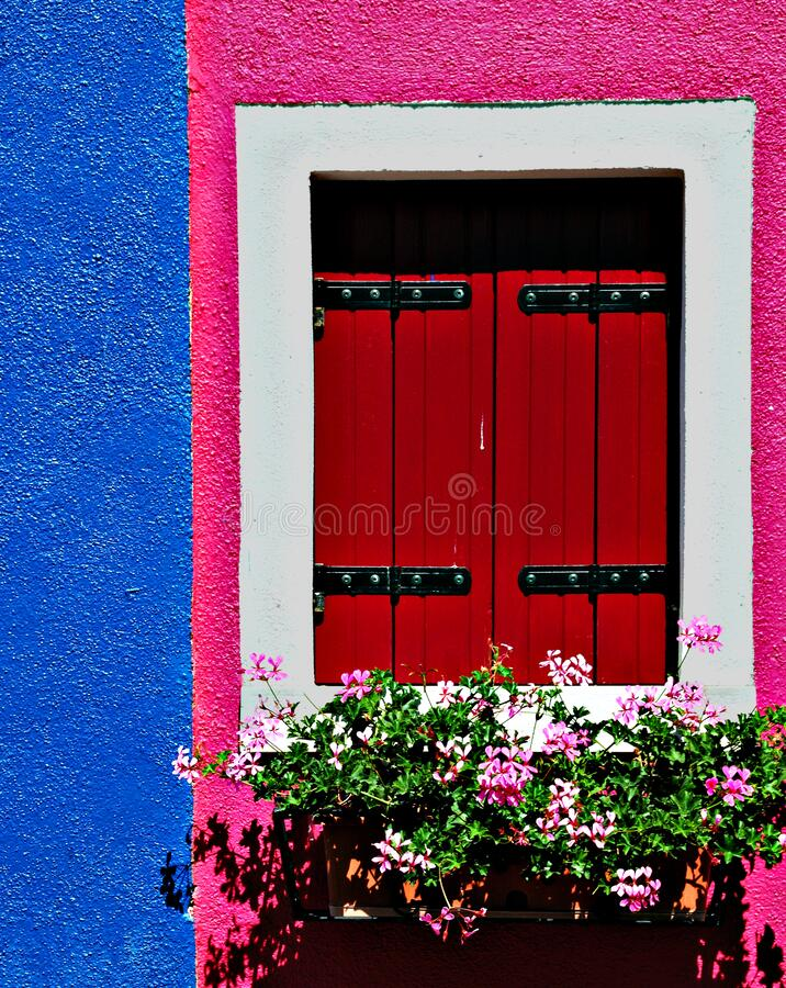 Free Nice Wooden Window With Flowers And Bright Blue, Red, Pink And White Colors, Burano, Venice, Italy Royalty Free Stock Photo - 169671955
