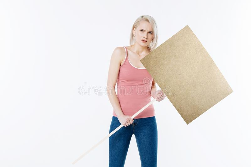 Nice young woman going to the protest royalty free stock photos