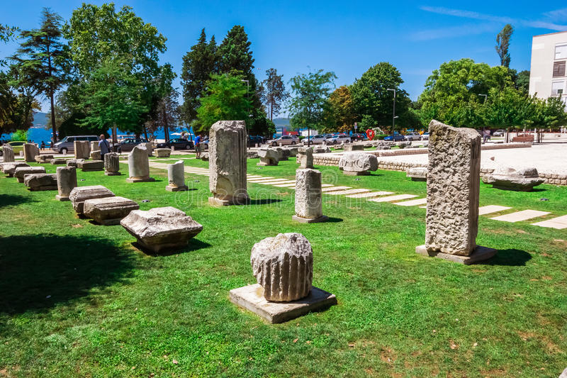 Nicely arranged ancient ruins in the old part of town in Zadar, Croatia stock photo