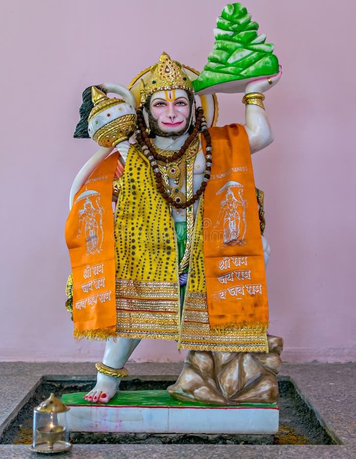 Isolated idol of Hindu God Hanuman in a temple at Yavatmal, Maharashtra, India. Nicely decorated Idol of Hindu God Hanuman in a temple at Yavatmal, Maharashtra stock photo
