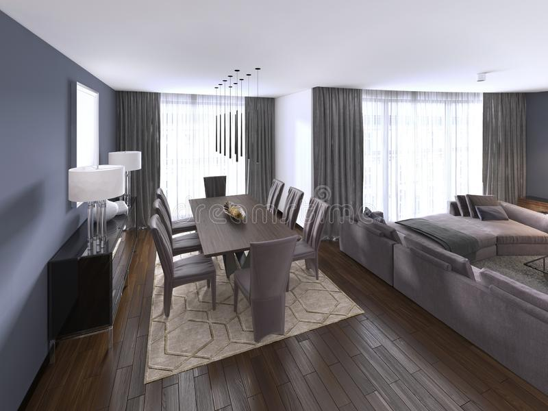 Nicely decorated luxury living, dining room. Dining table and some chairs. Interior design vector illustration