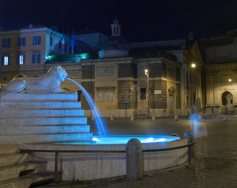 Fountain. The Magic of The Roman Night. Nicest touristic place in the world. Lion fountain. Long exposure. Gost woman royalty free stock images