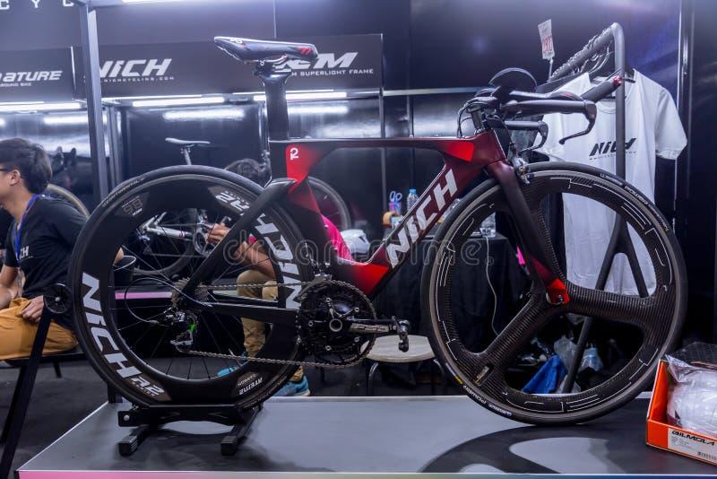 Nich задействуя продажу велосипеда тайского местного времени бренда велосипеда пробную в международном велосипеде 2018 Бангкока стоковое изображение rf