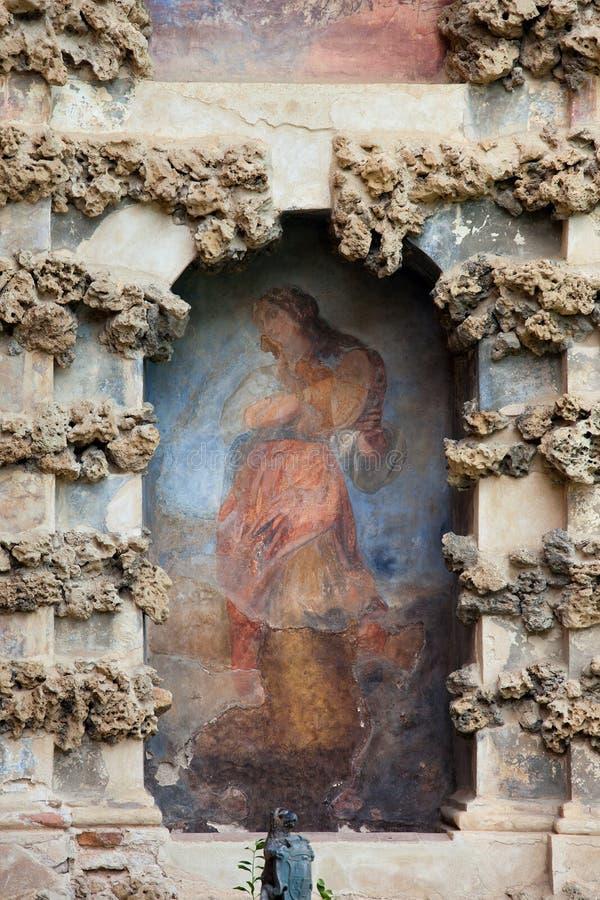 Niche Fresco in Real Alcazar of Seville. Old niche fresco of the Grotesque Gallery (Galeria del Grutesco) in Real Alcazar Garden of the Pond (Jardin del Estanque stock photo