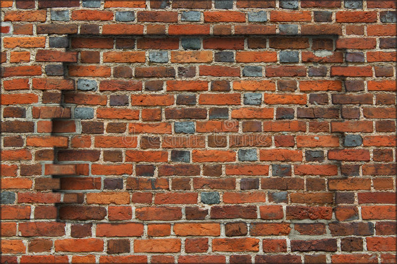 Niche in the wall made from the red brick. Niche broken in the wall made from the red brick royalty free stock photo