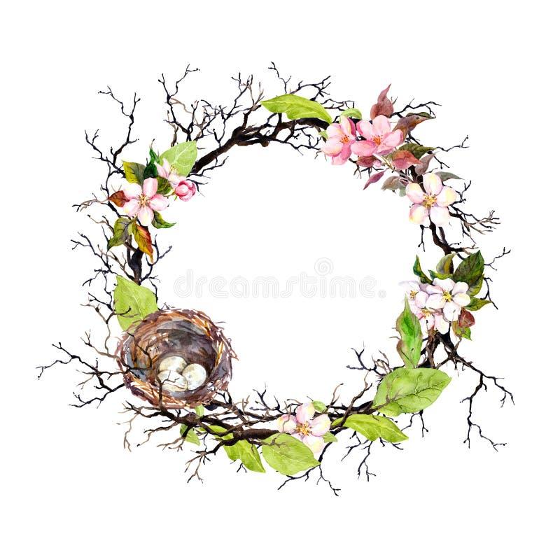Nichez avec des oeufs, des fleurs de fleur de ressort, des branches et des feuilles de vert Guirlande florale pour Pâques Frontiè illustration stock