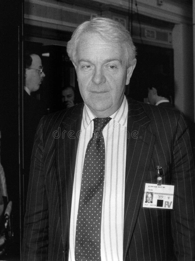 Nicholas Scott. Conservative party Member of Parliament for Chelsea, visits the party conference in Blackpool on October 10, 1989 royalty free stock image