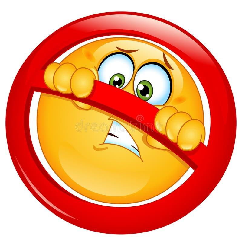 Nicht erlaubter Emoticon lizenzfreie abbildung