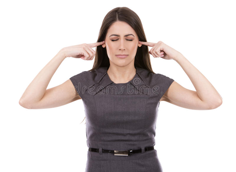 Nicht hörende Geschäftsfrau stockbild