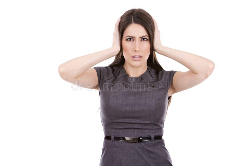 Nicht hörende Geschäftsfrau lizenzfreie stockfotos