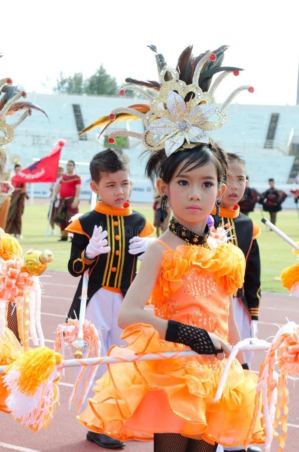 Nicht identifizierte Kursteilnehmer in der Parade, Songkhla Thailand lizenzfreies stockbild