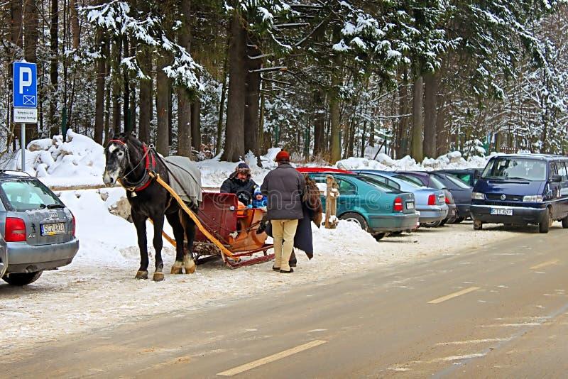 Nicht identifizierte Leute auf dem Pferdewagen in schneebedeckter Zakopane-Stadt lizenzfreie stockfotos