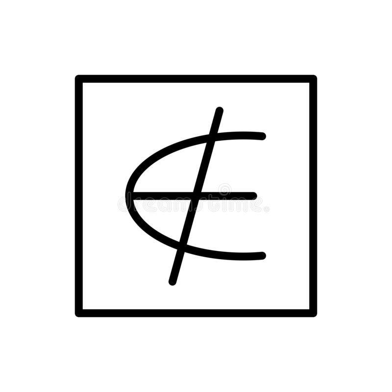 Nicht ist ein Element des Ikonenvektors lokalisiert auf weißem Hintergrund, ist kein Element von Zeichen-, Linien- und Entwurfsel vektor abbildung