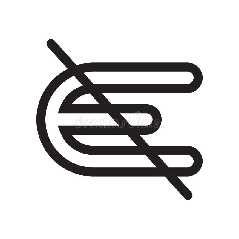 Nicht ist ein Element des Ikonenvektorzeichens und das Symbol, das auf weißem Hintergrund lokalisiert wird, ist kein Element des  lizenzfreie abbildung