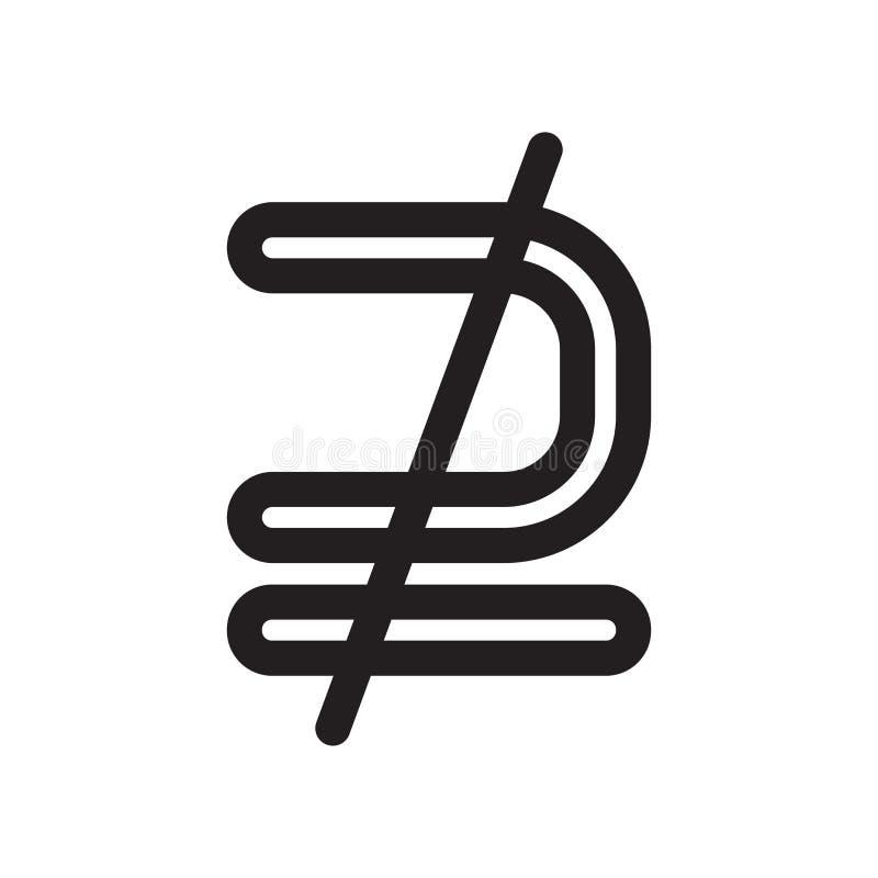 Nicht ist ein Teilmengenzeichenikonen-Vektorzeichen und das Symbol, das auf weißem Hintergrund lokalisiert wird, ist kein Teilmen lizenzfreie abbildung
