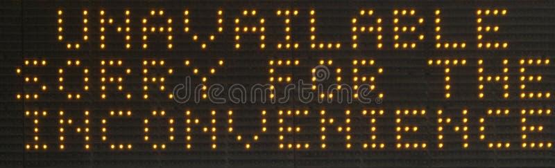 ` Nicht verfügbare ` LED Punkt-Wechselverkehrszeichenanzeige lizenzfreie stockfotos