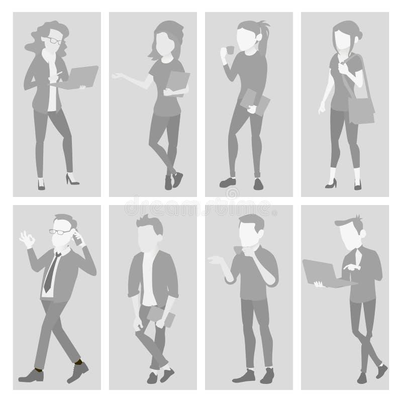 Nichterfüllung Placeholder-Avatara-gesetzter Vektor Profil Gray Picture In voller Länge Portrait Mann, Frauen-Foto Geschäftsmann lizenzfreie abbildung