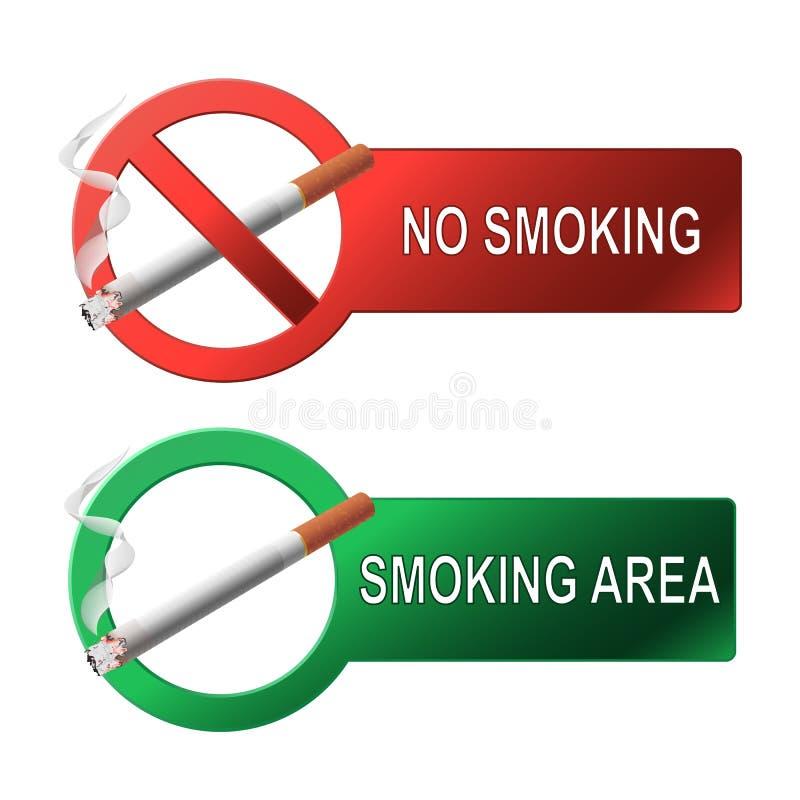 Nichtraucher- und rauchender Bereich des Zeichens lizenzfreie abbildung