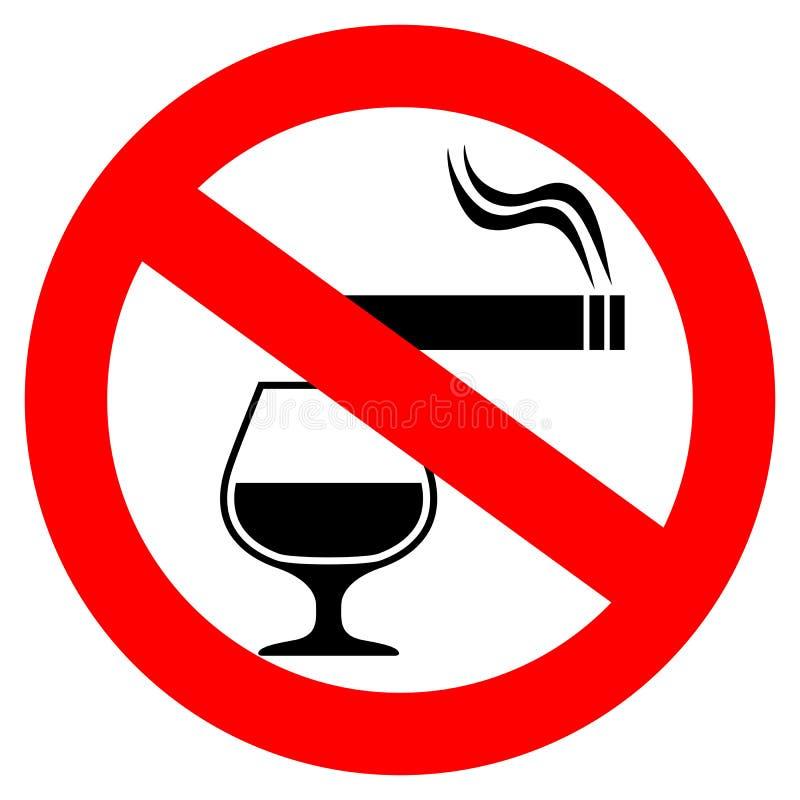 Nichtraucher- und trinkendes Vektorzeichen des Alkohols lizenzfreie abbildung