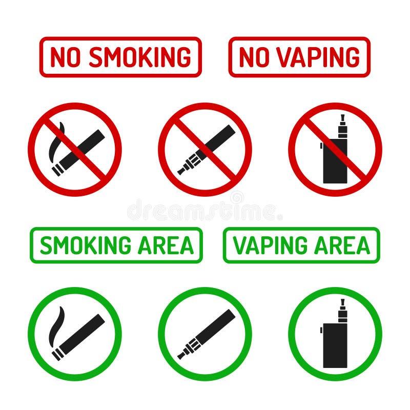 Nichtraucherzeichen eingestellt vektor abbildung