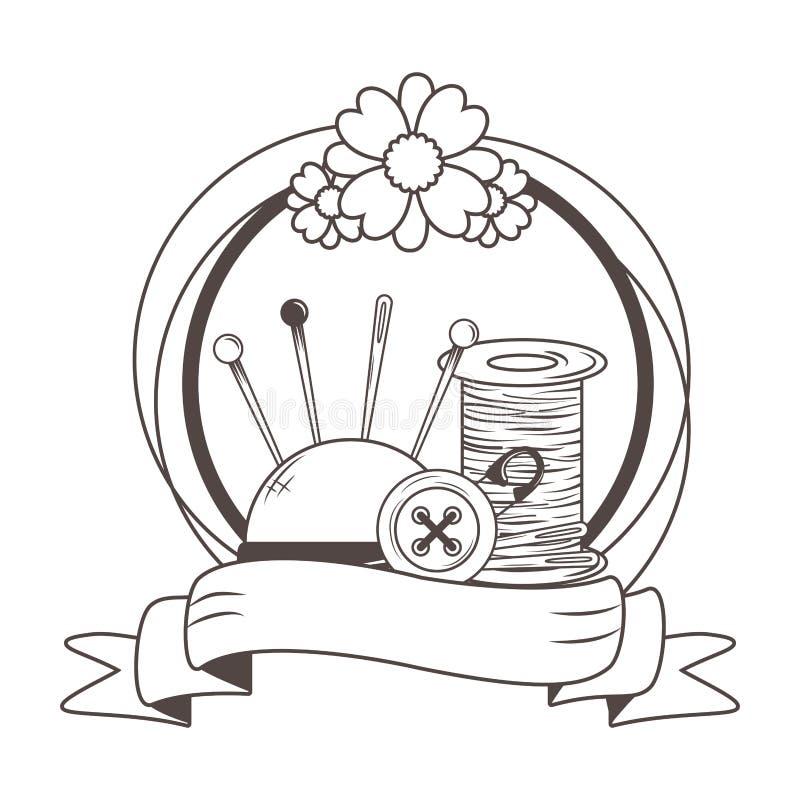 Niciany igielny guzika i szpilki projekt ilustracji