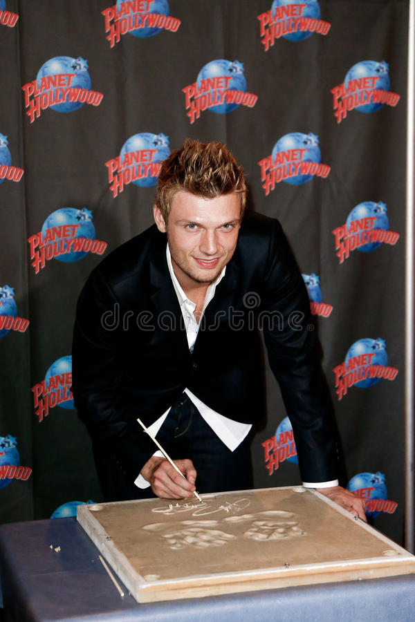 Nick Carter. NEW YORK-SEP 24: Singer Nick Carter promotes his new book 'Facing The Music: And Living To Talk About It' at Planet Hollywood Times Square on stock photo
