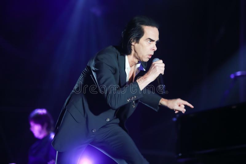 Nick Cave & The Bad Seeds. ZAGREB, CROATIA - 26th June, 2018 : Nick Cave & The Bad Seeds performs on the Main stage during the second day of 13th INmusic stock images
