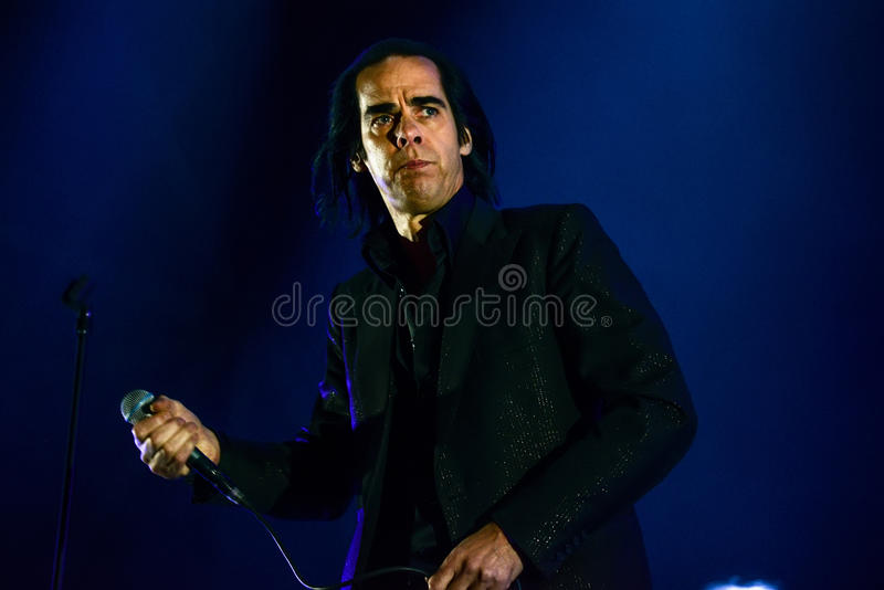 Nick Cave concert. BARCELONA - MAY 25, 2013 - Australian singer-songwriter Nick Cave performs at Primavera Sound 2013 Festival on May 25, 2013 in Barcelona stock photo