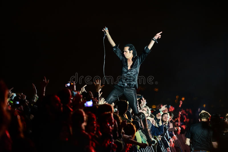 Nick Cave concert. BARCELONA - MAY 25, 2013 - Australian singer-songwriter Nick Cave performs at Primavera Sound 2013 Festival on May 25, 2013 in Barcelona stock images