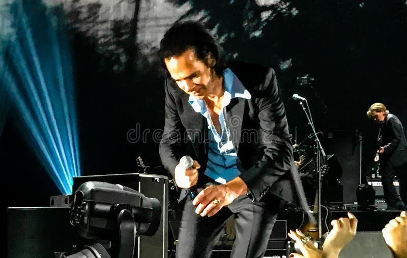 Nick Cave et les mauvaises graines de concert à Vienne photographie stock libre de droits