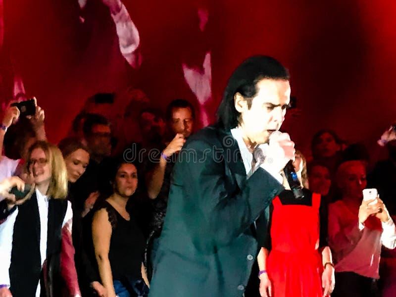 Nick Cave et les mauvaises graines de concert à Vienne photos libres de droits