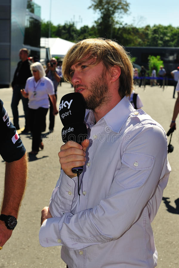 Nick Heidfeld. Monza, Italy - Septemer 11 : Petronas Mercedes Racing Team Driver, Nick Heidfeld is giving an interview during the Formula One 2010 at Monza stock images