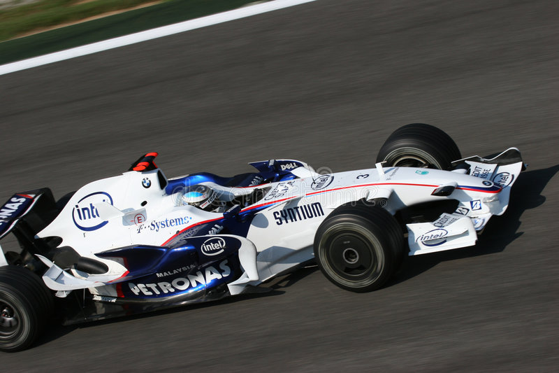 Nick Heidfeld on F1. Nick Heidfeld on his Bmw F1 in Monza, during august test session 2008 stock photography