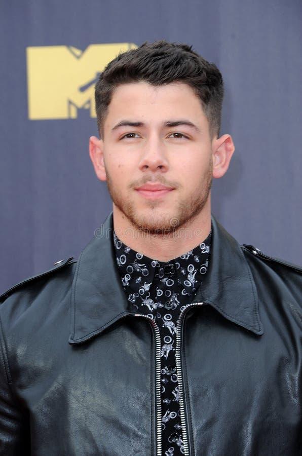 Nick Jonas. At the 2018 MTV Movie And TV Awards held at the Barker Hangar in Santa Monica, USA on June 16, 2018 stock photography