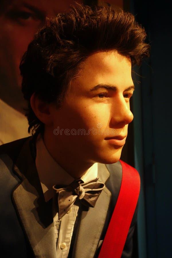Nick Jonas Wax Figure arkivfoton