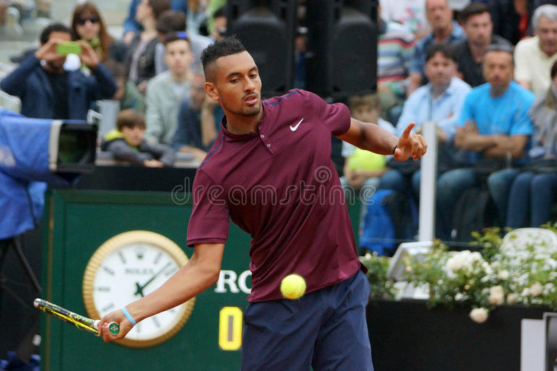 Nick Kyrgios (AUS). ROME, ITALY - MAY 11, 2016: Nick Kyrgios (AUS) during his match against Milos Raonic at the Internazionali BNL d'Italia in Rome, Italy stock photos