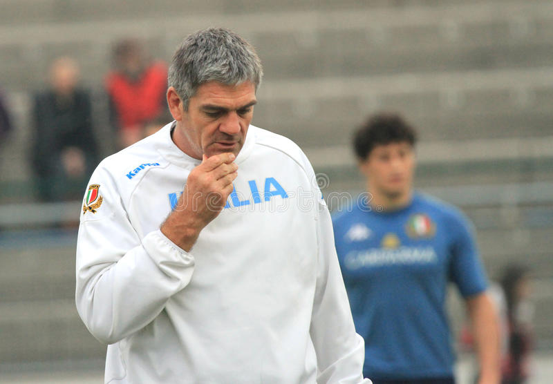 NICK MALLETT (RSA) head coach of Italy's rugby. Nick Mallet (Republic of South Africa) is the trainer and head coach of Rugby's Italian National team. Pensive royalty free stock photography