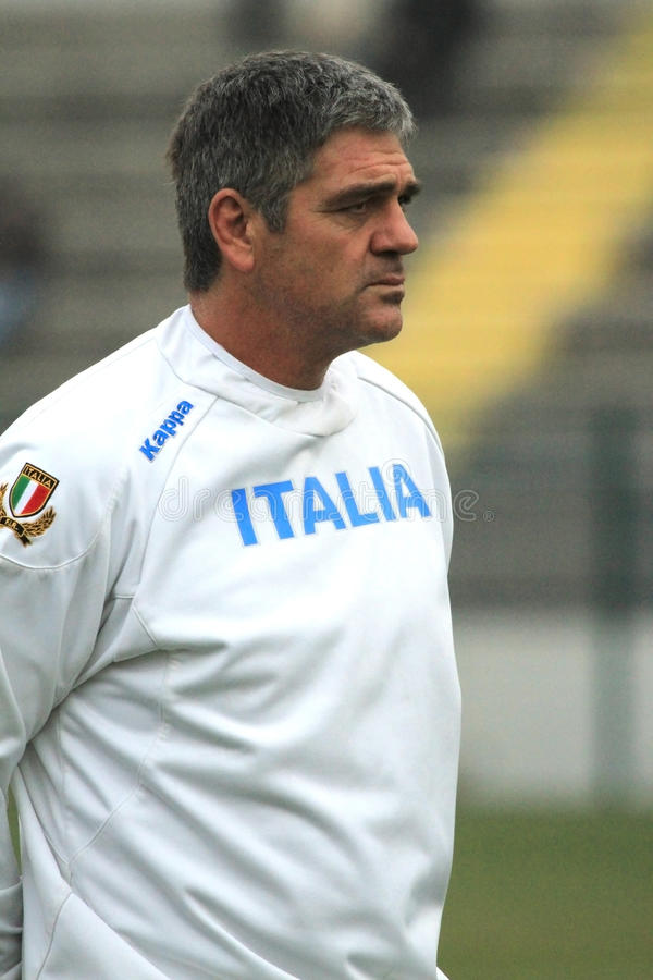 NICK MALLETT (RSA) head coach of Italy's rugby. Nick Mallet (Republic of South Africa) is the trainer and head coach of Rugby's Italian National team. Mallet royalty free stock photography