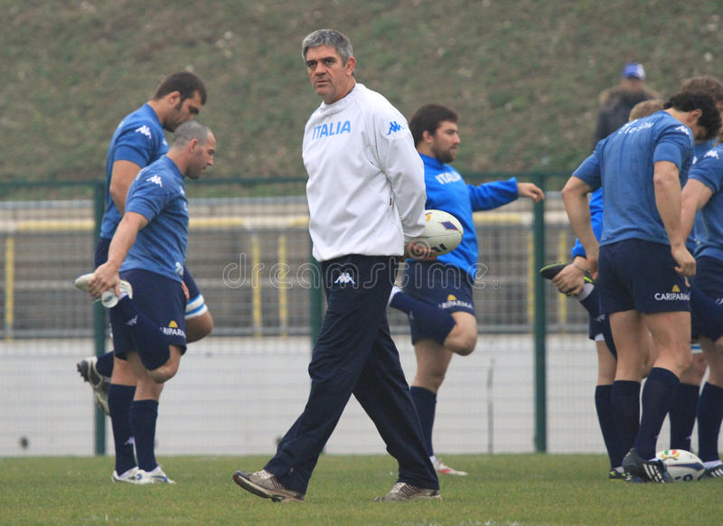 NICK MALLETT (RSA) head coach of Italy's rugby. Nick Mallet (Republic of South Africa) is the trainer and head coach of Rugby's Italian National team. Mallet royalty free stock photos