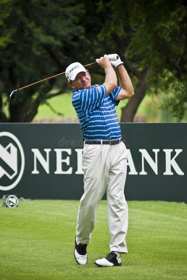 Nick Price - 18th Tee. Nick Price drives his last tee shot of the tournament. 2010 12 03 Nedbank Golf Challenge, 30th Anniversary. Sun City - Gary Player Golf stock photos