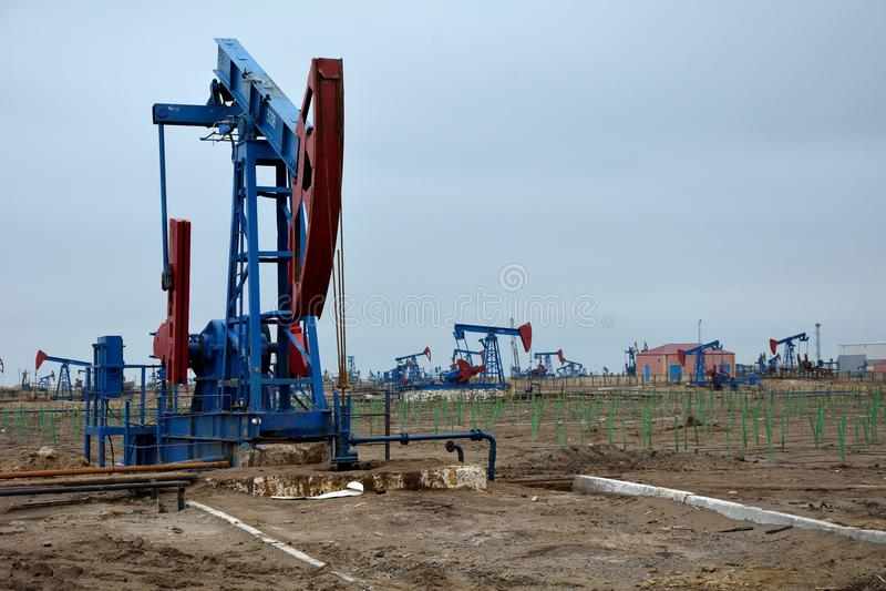 Nicka åsnan i på-kust oljefält i utkant av Baku, huvudstad av Azerbajdzjan royaltyfri bild