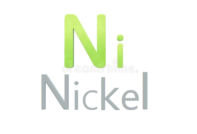 Nickel chemical symbol as in the periodic table stock illustration
