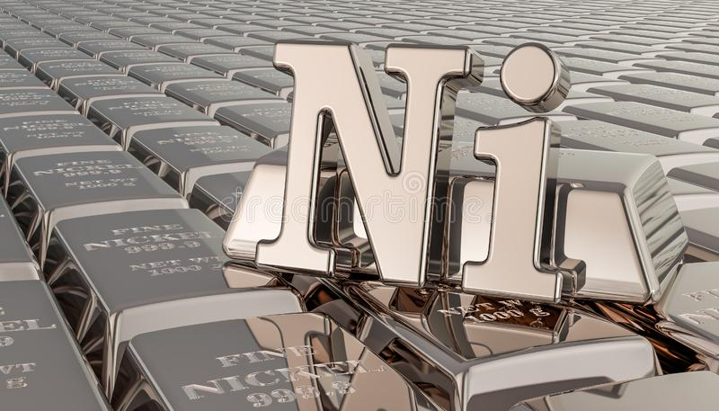 Nickel ingots background with Ni symbol. 3D rendering royalty free illustration