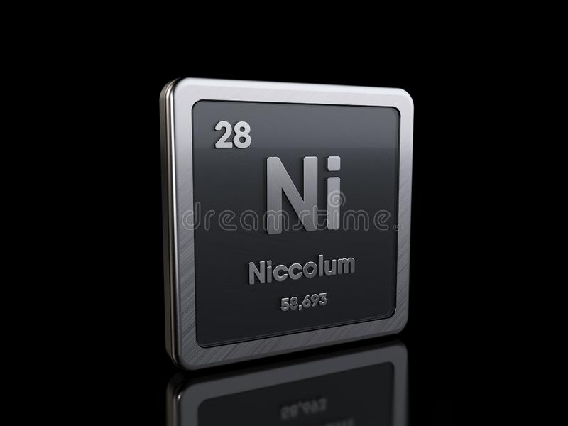 Nickel Ni, element symbol from periodic table series stock illustration