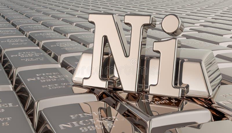 Nickelbarrenhintergrund mit Ni-Symbol Wiedergabe 3d lizenzfreie abbildung