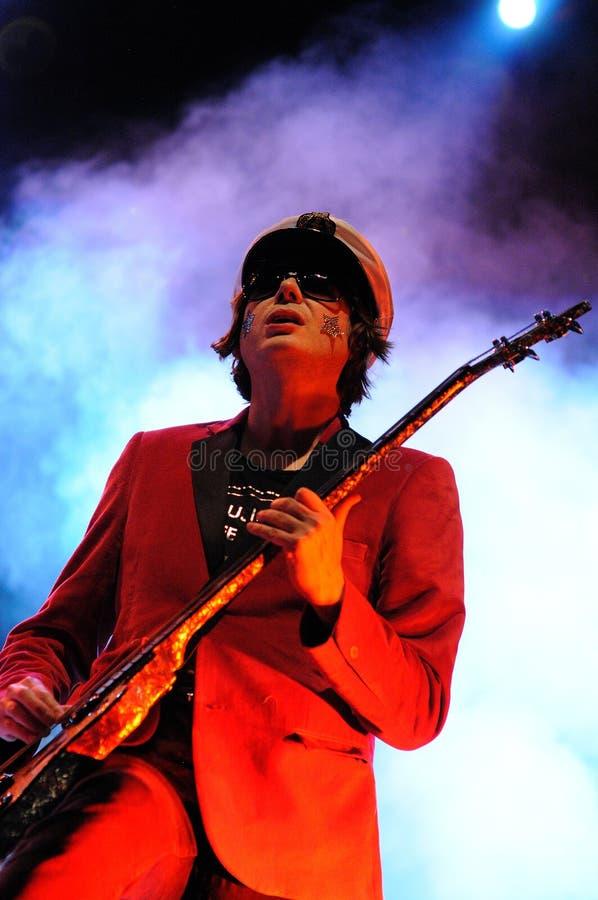 Nicky Wire, guitarrista de los predicadores maníacos de la calle de la banda Galés fotografía de archivo libre de regalías