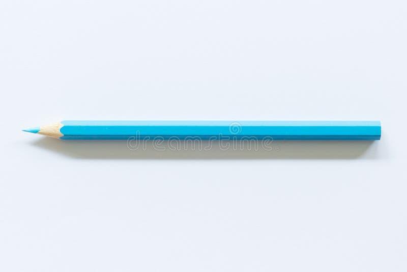 ?nico objeto colorido azul do l?pis um, vista superior, matiz brilhante fotos de stock royalty free