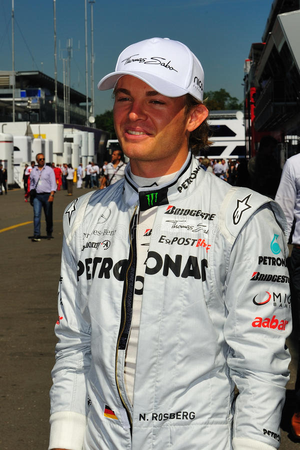 Nico Rosberg. Petronas Mercedes F1 Team Driver, Nico Rosberg arrives in the paddock Formula One at monza circuit, italy royalty free stock photos