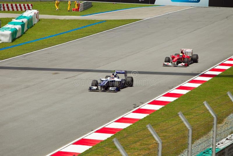 Nico Rosberg y Massa en la fórmula malasia 1 imagen de archivo libre de regalías