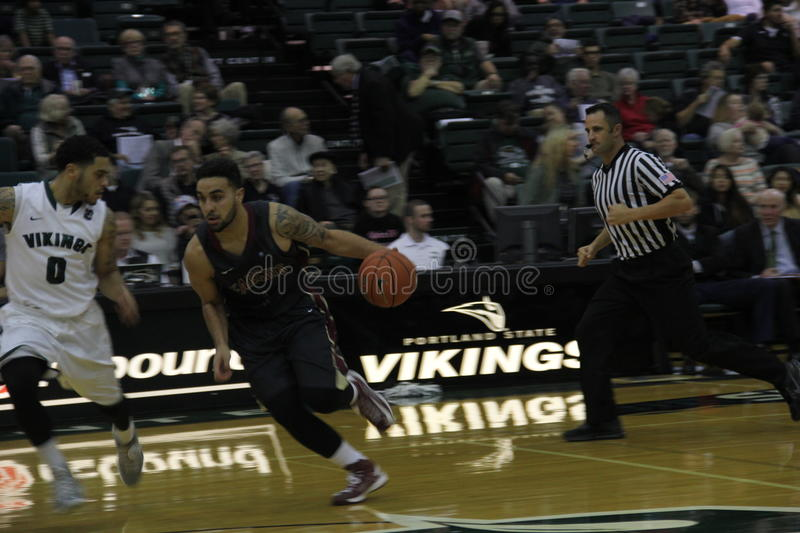 Nico Troplent. Freshman at Willamette University playing Portland State at the Stott Center 11,18,2014 royalty free stock image